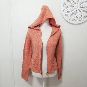 Sleeping on snow S full zip wool hooded cardigan